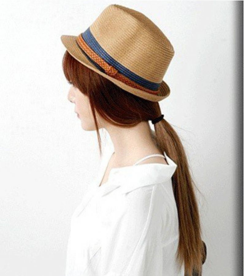 Crochet Handwork Elegant Lady Fashion Cheap Paper Hat With Belt For Women