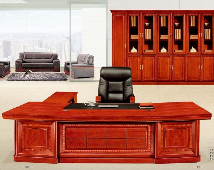 Wood Solid Carved Patterns Cherry Veneer CEO Office Table