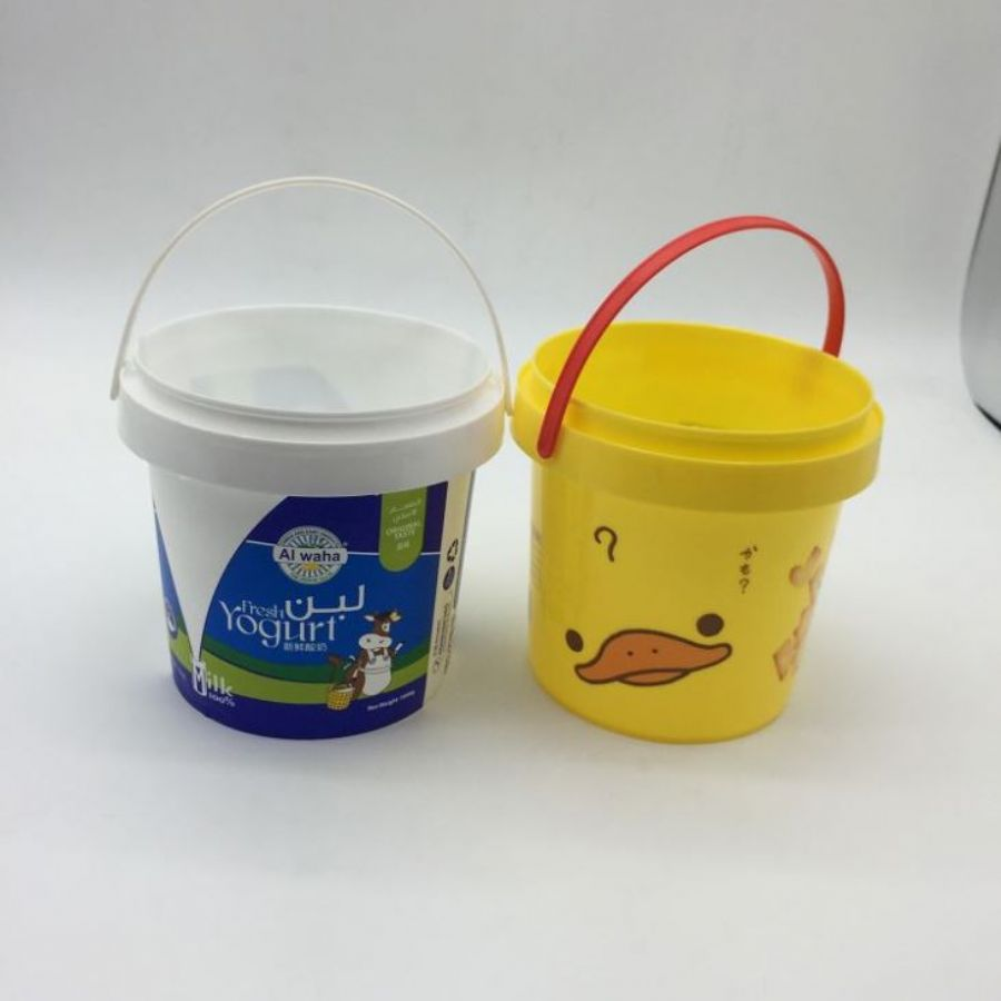 Food Grade Plastic Storage Container Yogurt Bucket 1litre With Lid