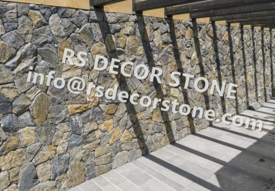Grey And Rusty Limestone Mosaic Thin Stone Veneer