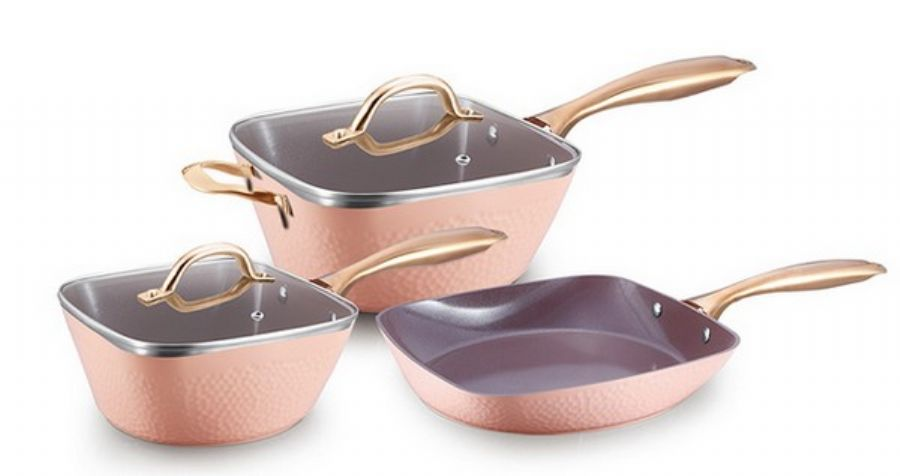Forged Aluminium Cookware Set in Hammered Design with Ceramic Coating